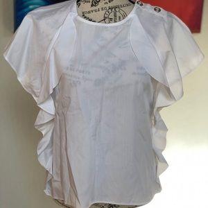 Zara Basic White Flutter Top Blouse Size XS